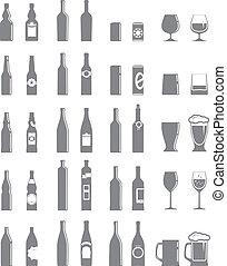 óculos, diferente, isolado, garrafas, jogo, branca
