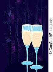 óculos, dois, champanhe