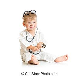 óculos, doutor, isolado, estetoscópio, tocando, criança