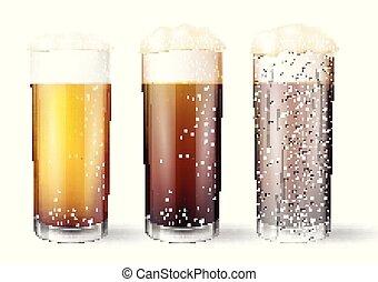 óculos, drops., cerveja, realístico, água