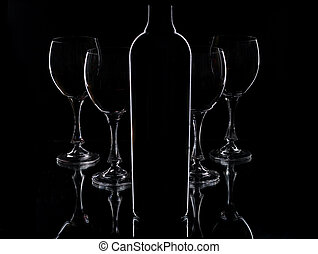 óculos, e, garrafa vinho vermelho