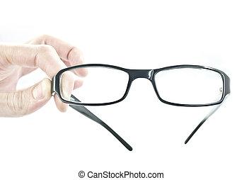 óculos, em, a, mãos
