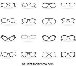 óculos, em, diferente, estilos