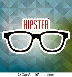 óculos, estilo, hipster, cartaz