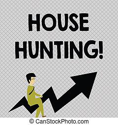 óculos, hunting., apontar, foto, procurar, aluguel, cima., curvado, escrita, olhar, casa, conceitual, montando, compra, negócio, mostrando, mão, texto, seta, ato, homem negócios, ou