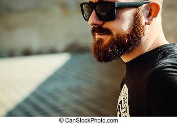 óculos, jovem, sujeito, barba