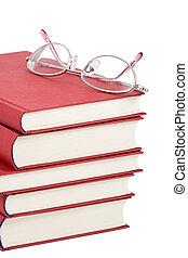 óculos, livros, pilha, vermelho