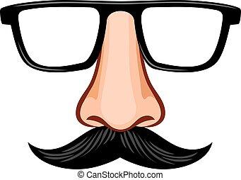 óculos, máscara, nariz, bigode, fraude