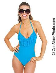 óculos, mulher feliz, jovem, swimsuit