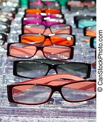 óculos, para, cima, vista, em, filas, muitos, óculos olho