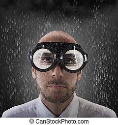 óculos, para, tempo mau