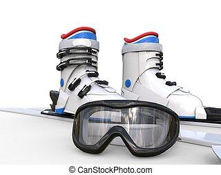 óculos proteção, botas esquiar