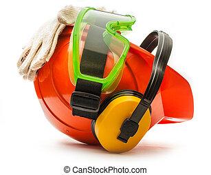 óculos proteção, capacete, fones ouvido, luvas