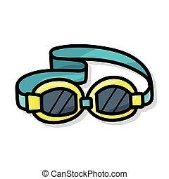 óculos proteção, cor, doodle