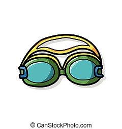 óculos proteção, doodle
