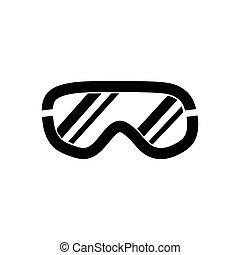 óculos proteção esqui, ícone, branco, fundo, vetorial,...
