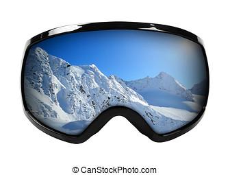óculos proteção esqui, com, reflexão, de, montanhas,...