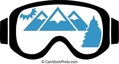 óculos proteção esqui, com, vista montanha