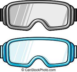 óculos proteção, esqui, desporto, (winter, glasses)