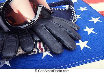 óculos proteção esqui, e, luvas, sobre, bandeira eua, -, tiro estúdio