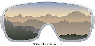 óculos proteção esqui, isolado