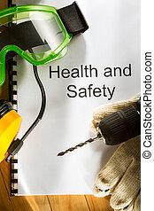 óculos proteção, registo, fones ouvido, broca