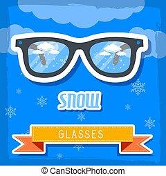 óculos, retro, fundo, concept., tempo, ilustração, vetorial, desenho