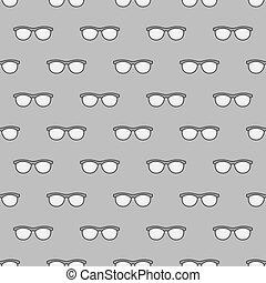 óculos, seamless, cinzento, padrão