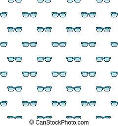 óculos, seamless, vetorial, padrão, com, olho azul, óculos
