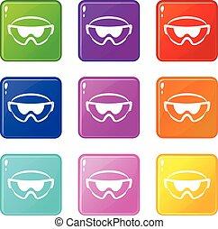 óculos segurança, ícones, 9, jogo