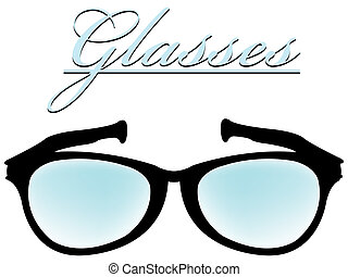 óculos, silueta, isolado, branco