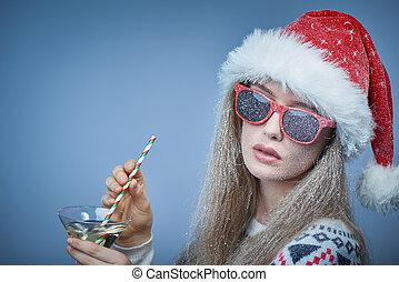 óculos sol cansativo, congelado, neve, rosto, santa, menina...