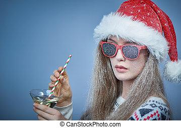 óculos sol cansativo, coquetel, congelado, neve, rosto, ...