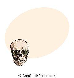 óculos sol cansativo, cranio, mão, verde, human, desenhado, aviador