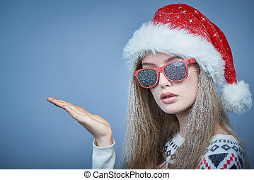 óculos sol cansativo, espaço, congelado, mostrando, santa, ...