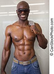 óculos sol cansativo, muscular, homem