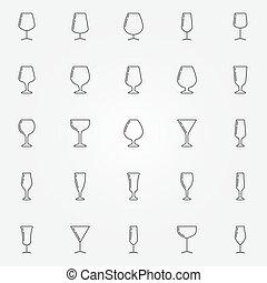 óculos, vinho, cobrança, ícones