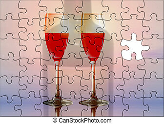 óculos, vinho, vermelho, confundido