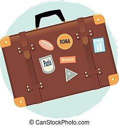 ódivatú, bőrönd
