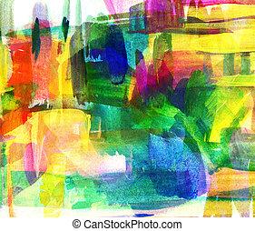 óleo, abstratos, Obscurecido, mancha, freehand, quadro,...