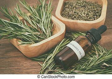 óleo, antigas, fundo, madeira, garrafa, fresco, alecrim, essencial