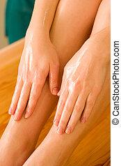 óleo, ayurvedic, massagem