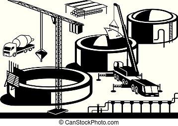 óleo, construção, base