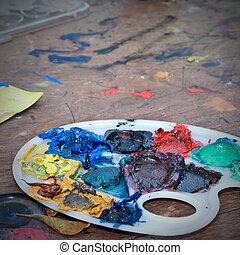 óleo, cores, em, paleta