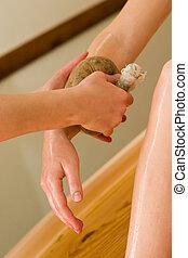 óleo corpo, ayurvedic, massagem