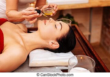 óleo, dela, dar, cheirado, suave, cliente, mestre, profissional