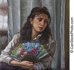 óleo, dela, mulher jovem, ventilador, retrato