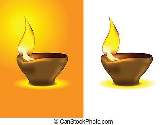óleo, diya, diwali, -, lâmpada, dipawali