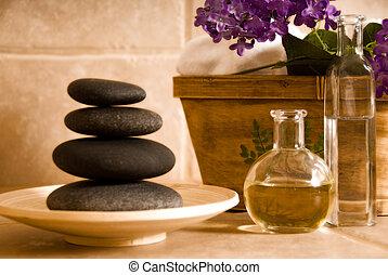 óleo, e, pedras