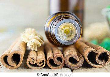 óleo essencial, com, canela